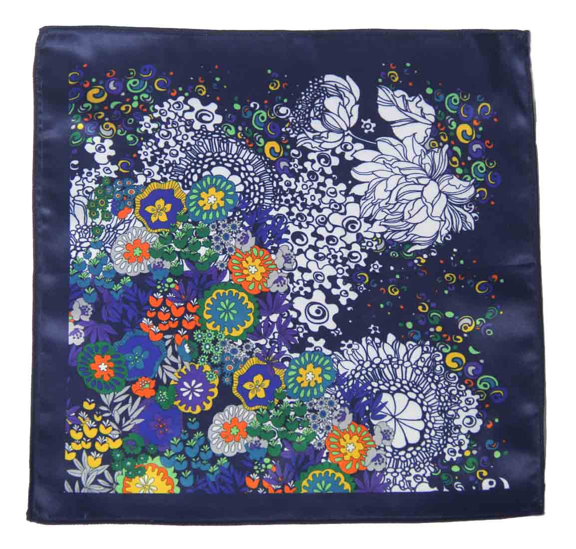 Gascoigne Silk Pocket Square Navy Blue Colorful Floral Pattern Men's