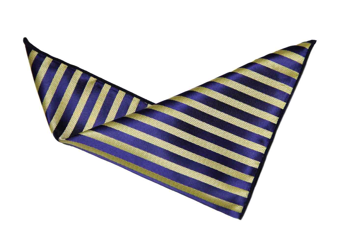 Gascoigne Pocket Square Navy Blue Yellow Striped Men's