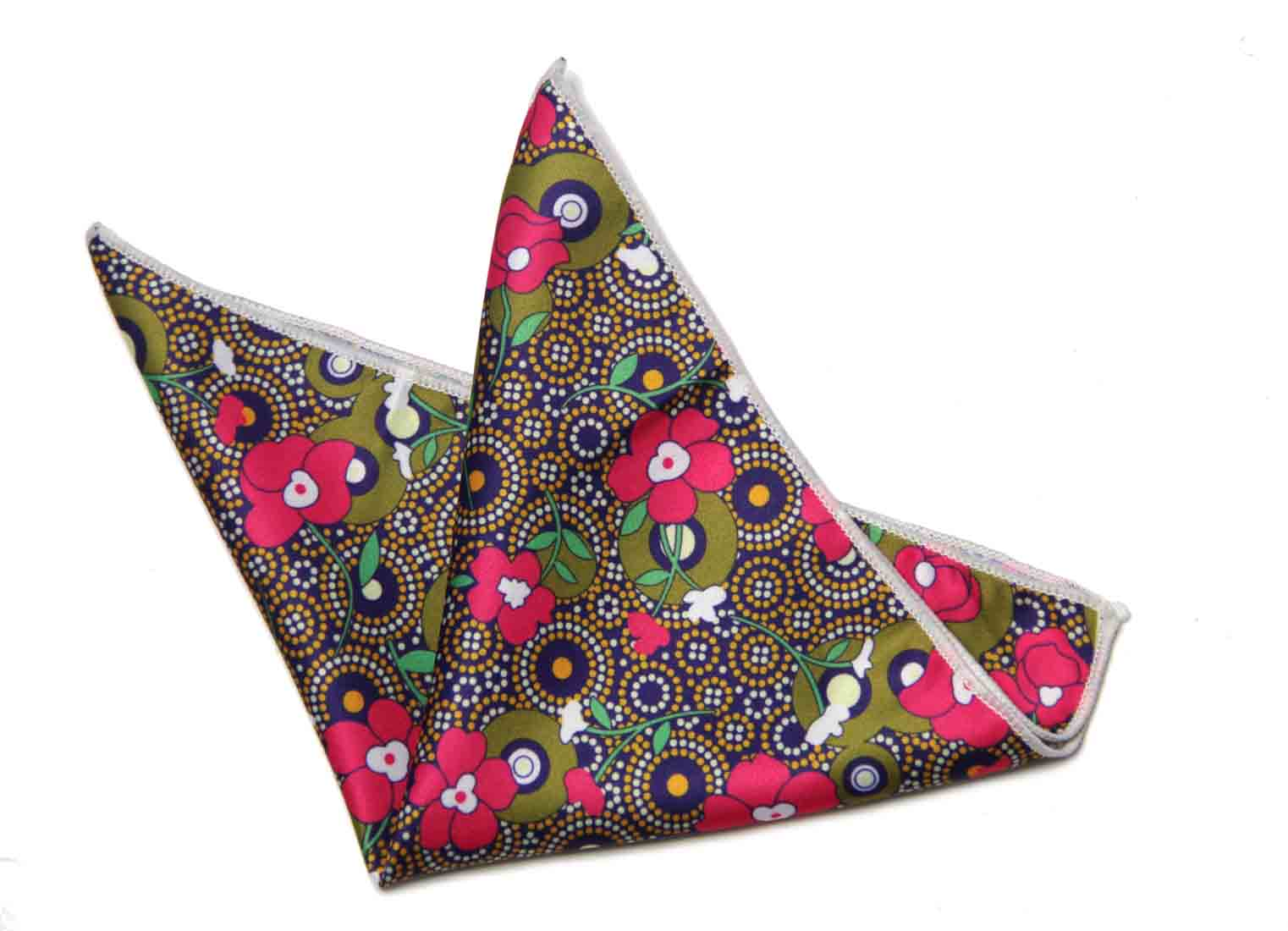 Gascoigne Floral Pocket Square Silk Multicolor Men's
