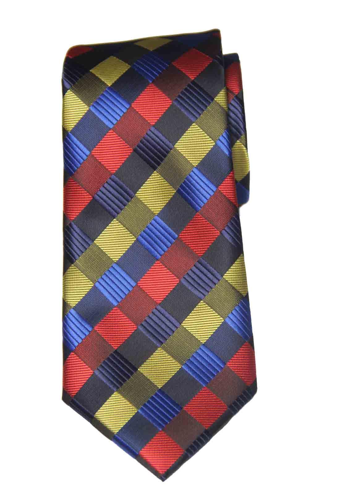 Gascoigne Tie Colorful Lattice Check Pattern Silk Hand Made Men's