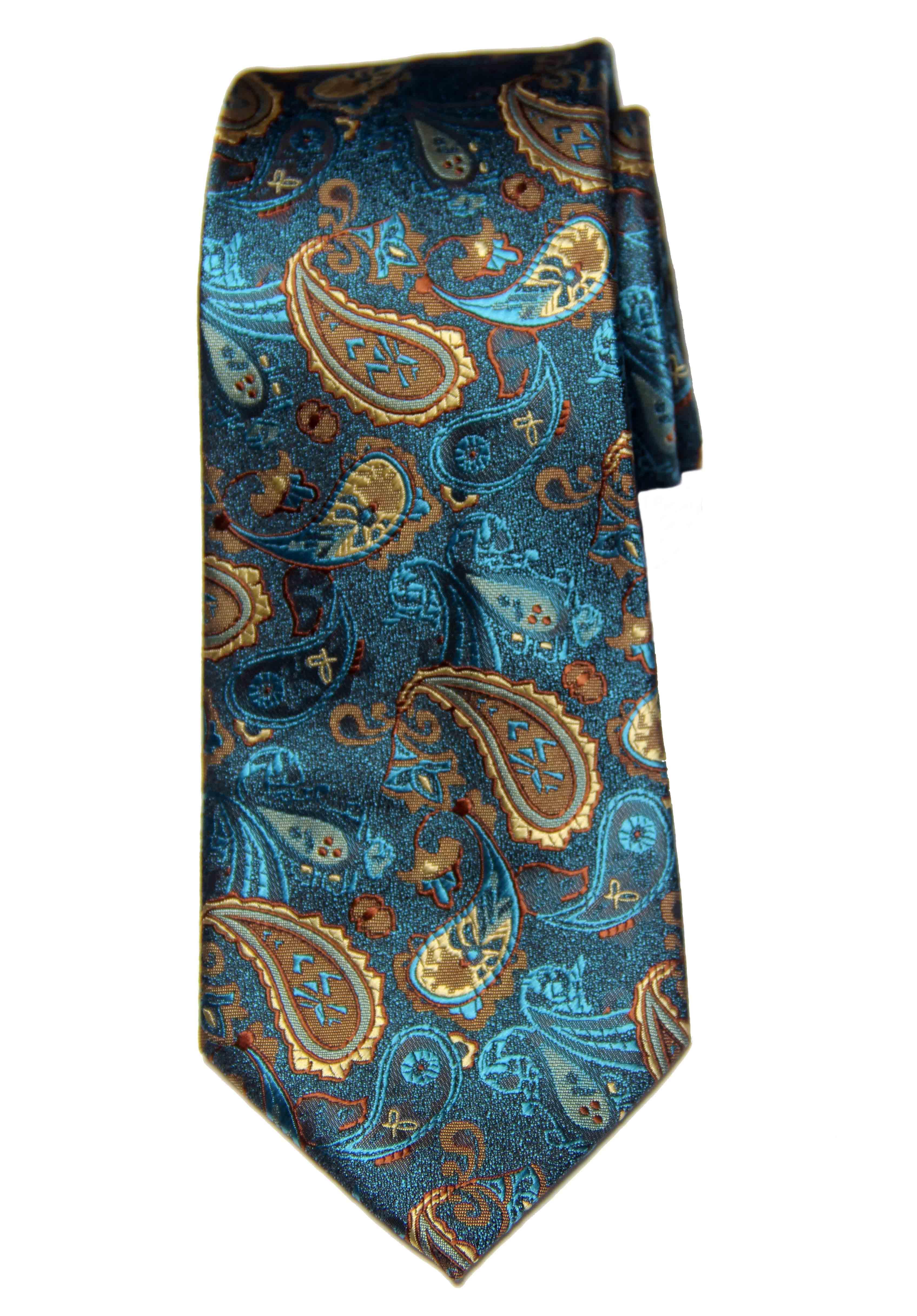 Gascoigne Silk Jacquard Tie Teal Blue Brown Gray Tan Orange Paisley Men's