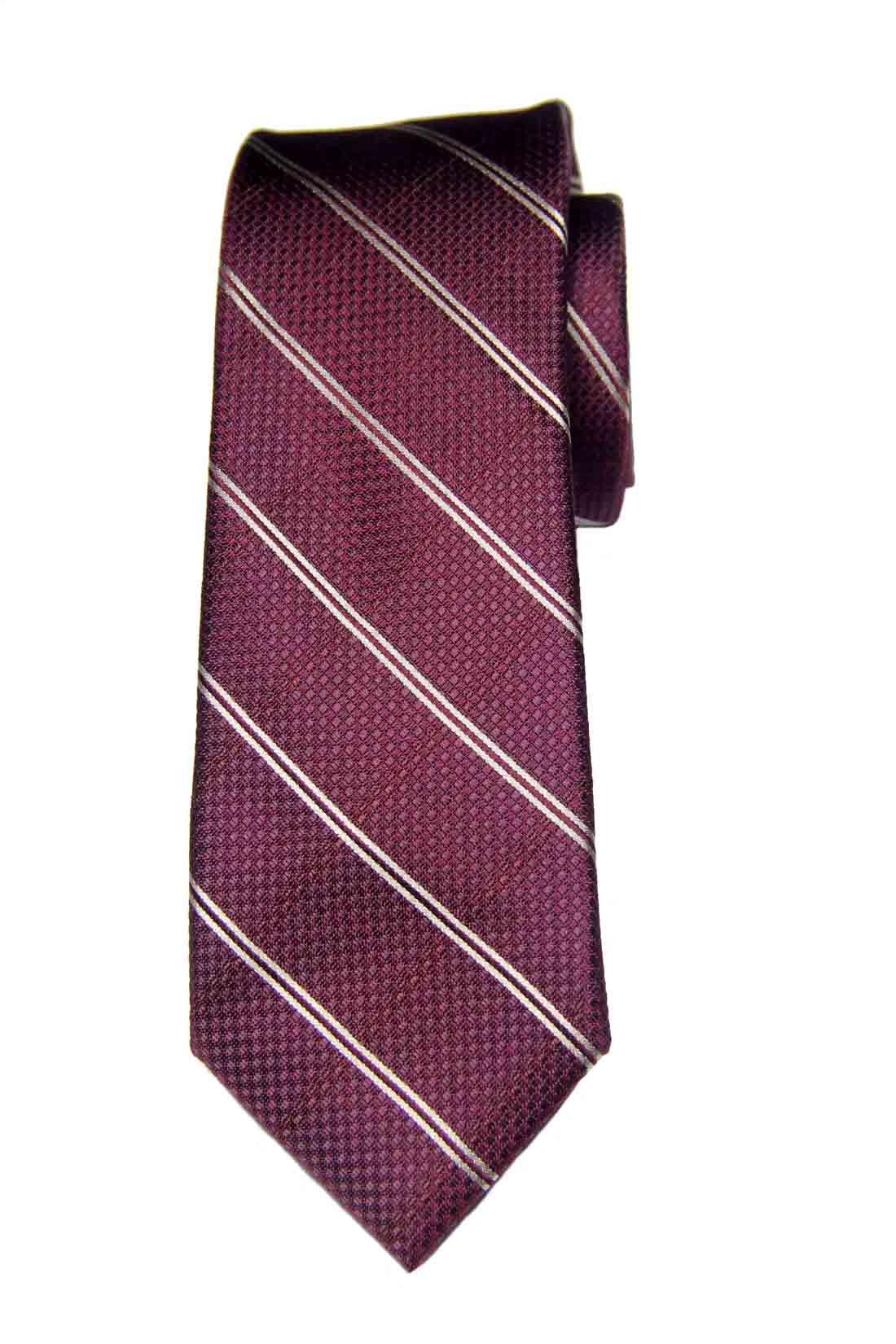 Jos A Bank Silk Tie Burgundy White Striped Men's