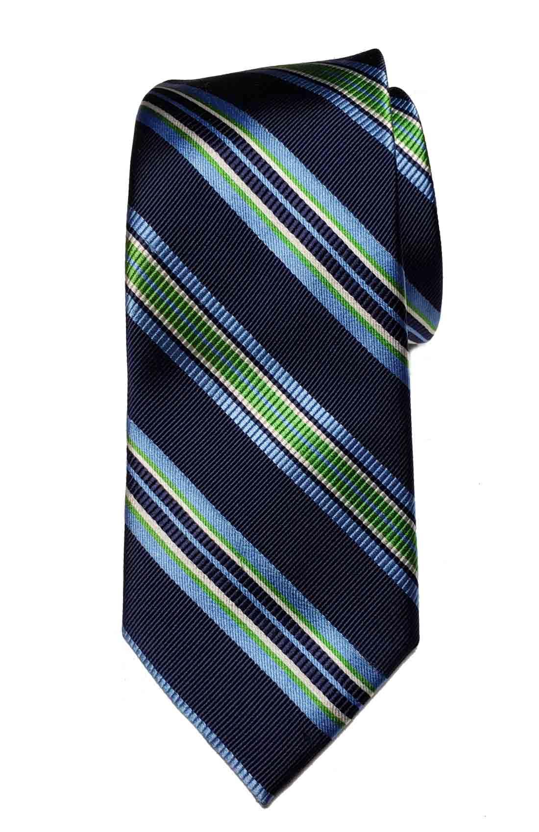 Jos A Bank Silk Tie Striped Navy Blue Green White Men's