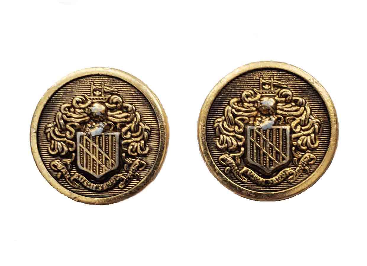 Two Vintage Kingsridge Blazer Buttons Brass Shank Gold Knight Shield Men's