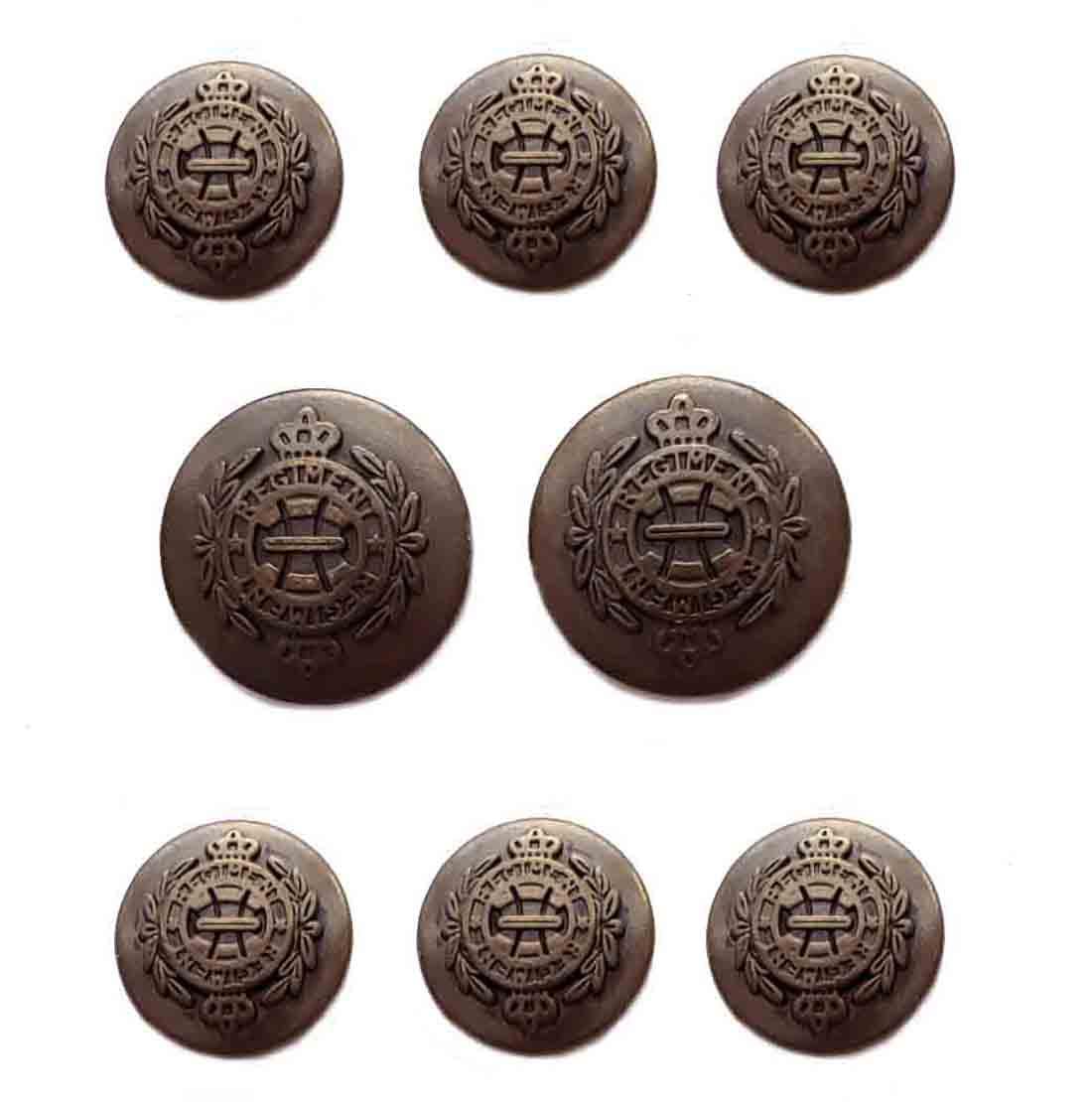 Vintage Meeting Street Regiment Blazer Buttons Set Bronze Metal Shank Men's