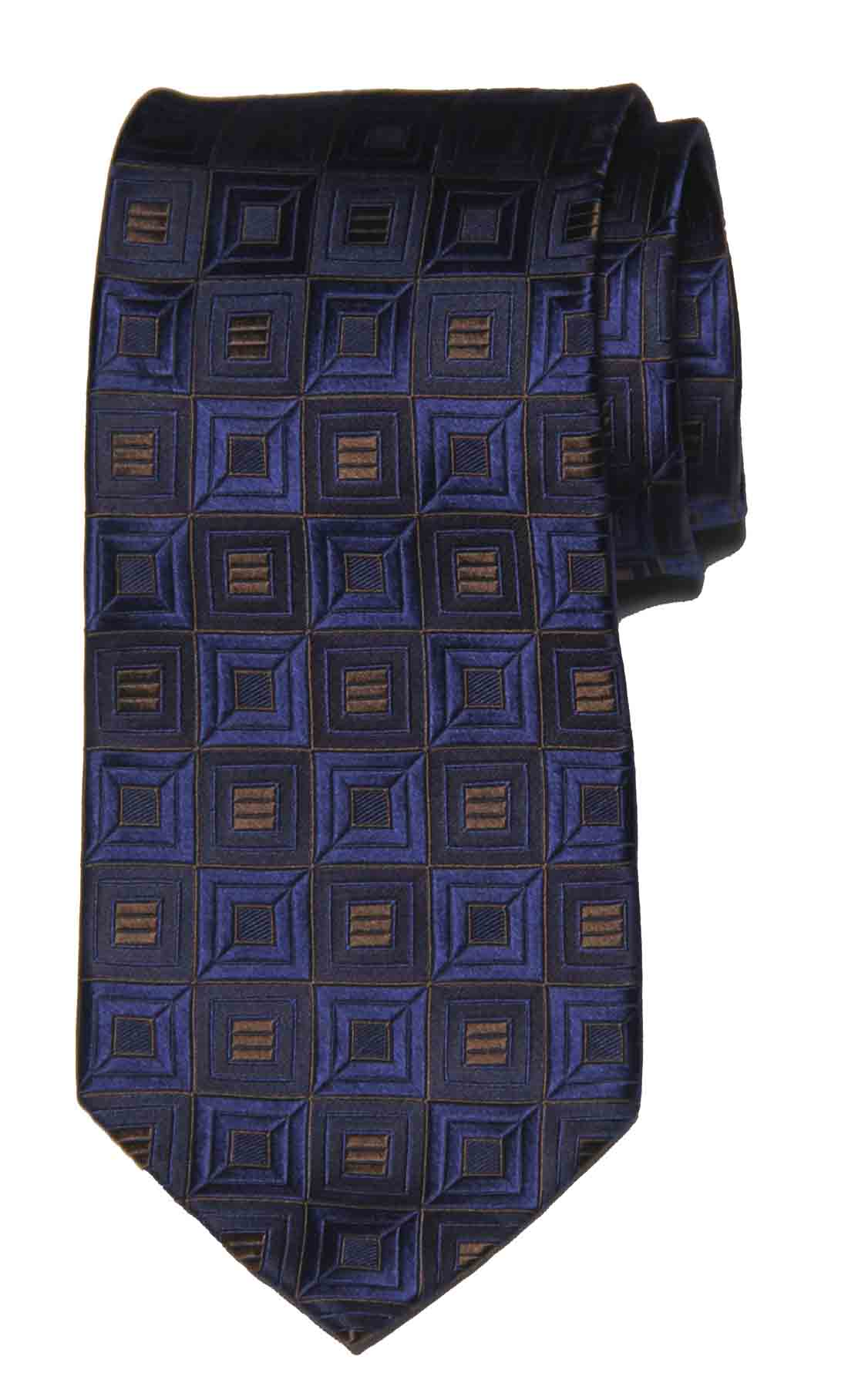 Michael Kors Tie Silk Navy Blue Brown Geometric Men's