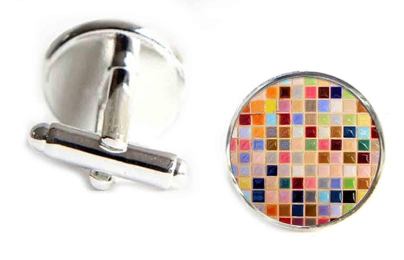 Gascoigne Mosaic Tiles Cufflinks Silver Metal Alloy Men's