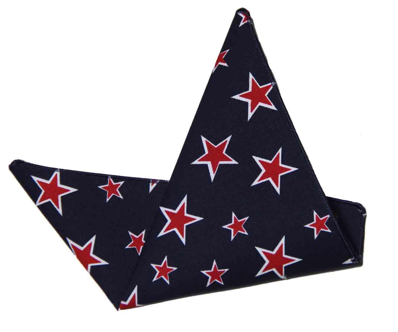 Gascoigne Pocket Square LInen Cotton Navy Blue Red White Stars Pattern Men's