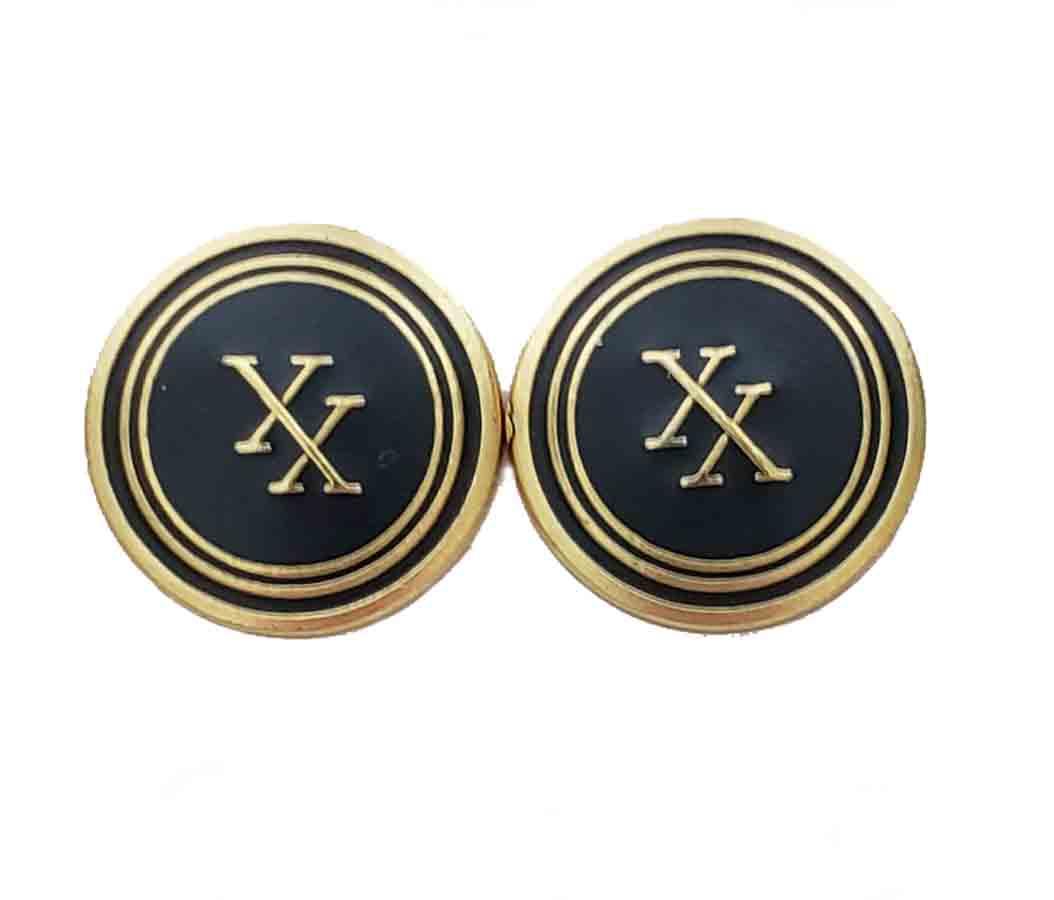 Two Vintage Oxford for Neiman Marcus Blazer Buttons Brass Enamel Gold Black XX Monogram Men's