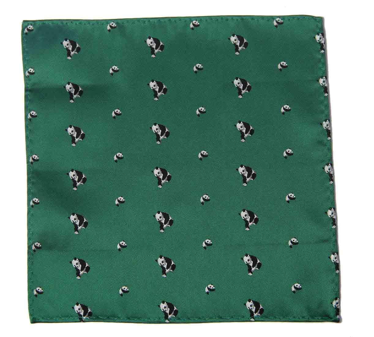 Gascoigne Pocket Square Green Panda Bears Pattern Silk Blend Men's