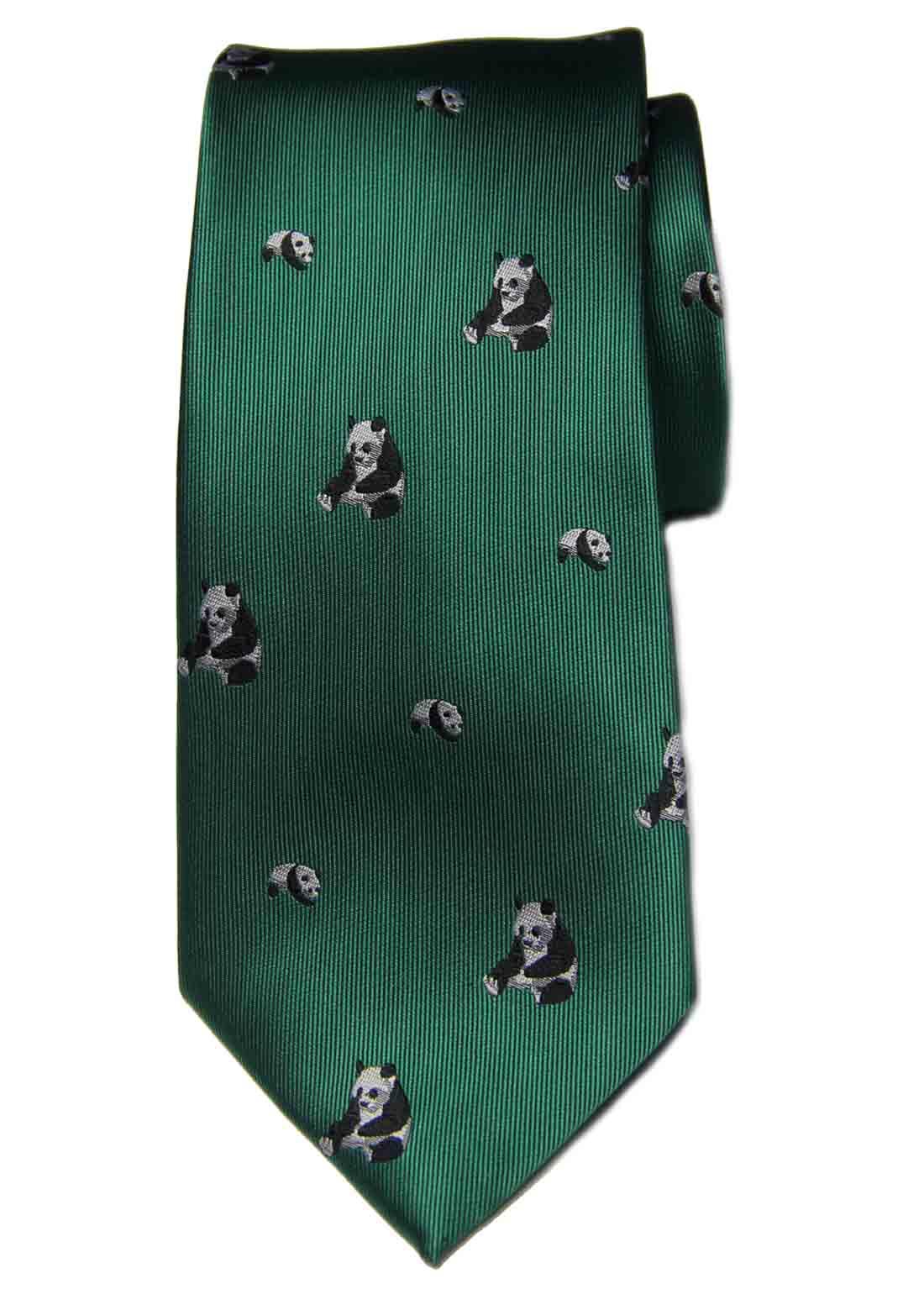 Hi-Tie for Gascoigne Silk Tie Green Panda Bears Pattern Men's
