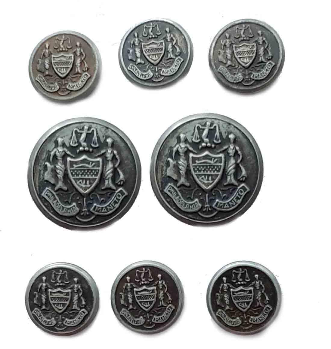 Vintage Ball & Docket Philadelphia Maneto Seal Blazer Buttons Set Gray Metal Men's