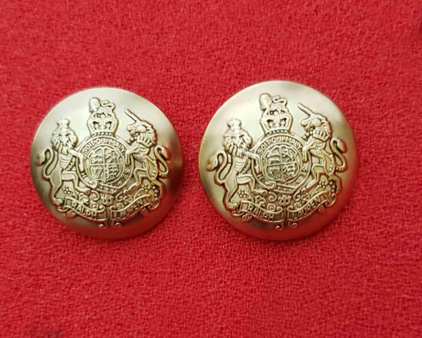Two Large Vintage Ralph Lauren Dome Blazer Buttons Lion Unicorn Gold Brass Shank Men's