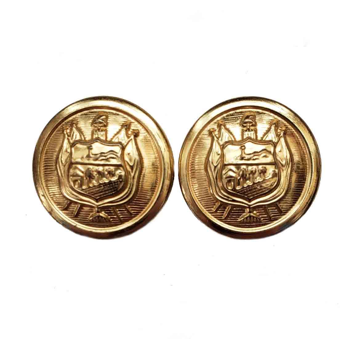 Two Vintage Stanley Blacker Blazer Buttons Gold Brass Shank Shield Pattern Men's 7/8