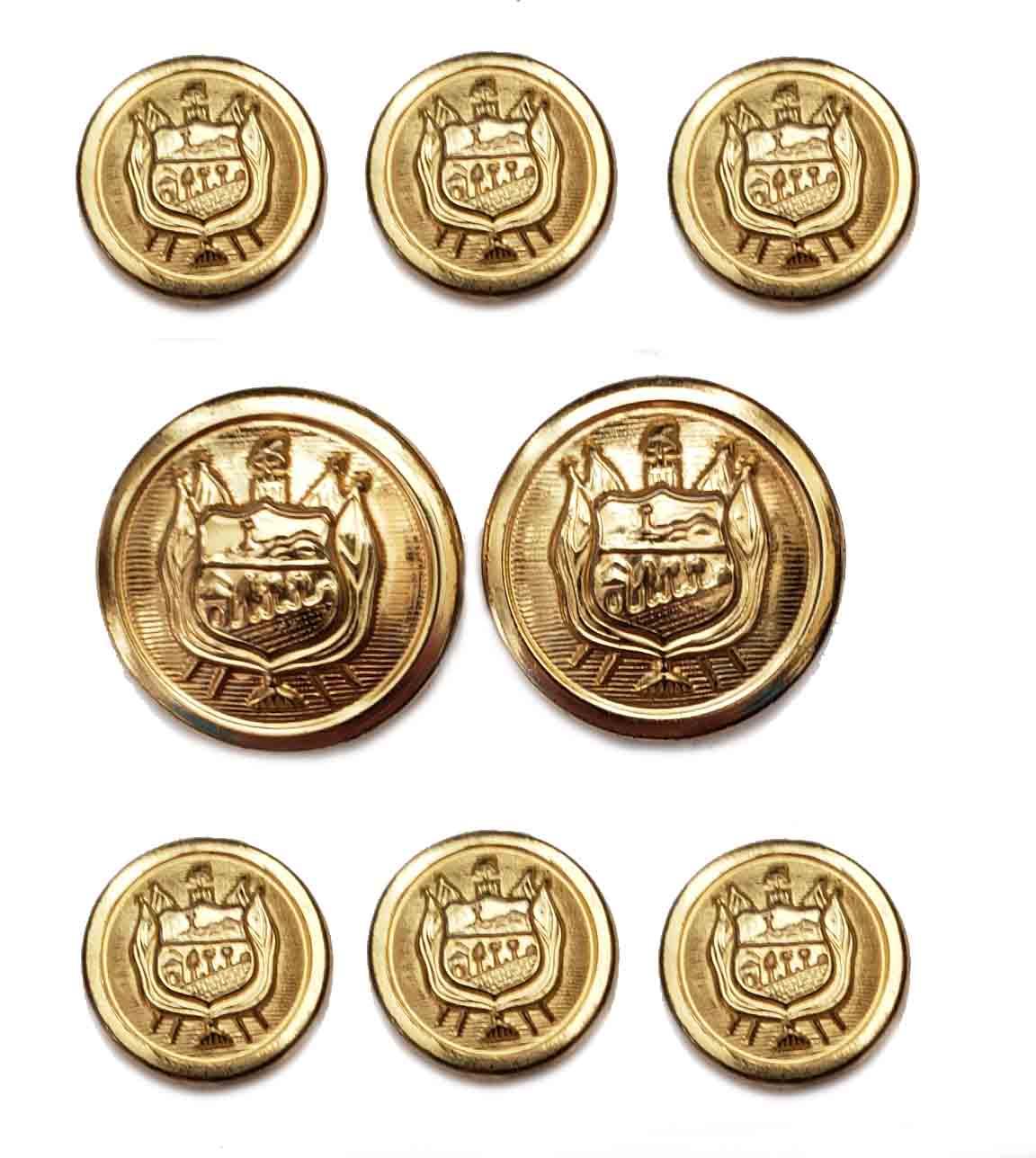 Vintage Stanley Blacker Blazer Buttons Set Gold Brass Shank Shield Pattern Men's 7/8