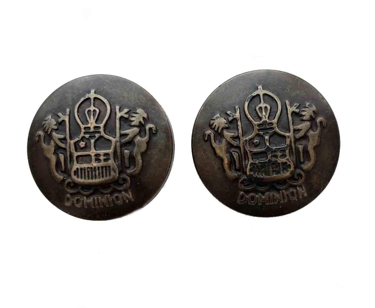 Two Vintage Southwick Antique Gold Brown Blazer Buttons Double Lion Dominion Metal Men's