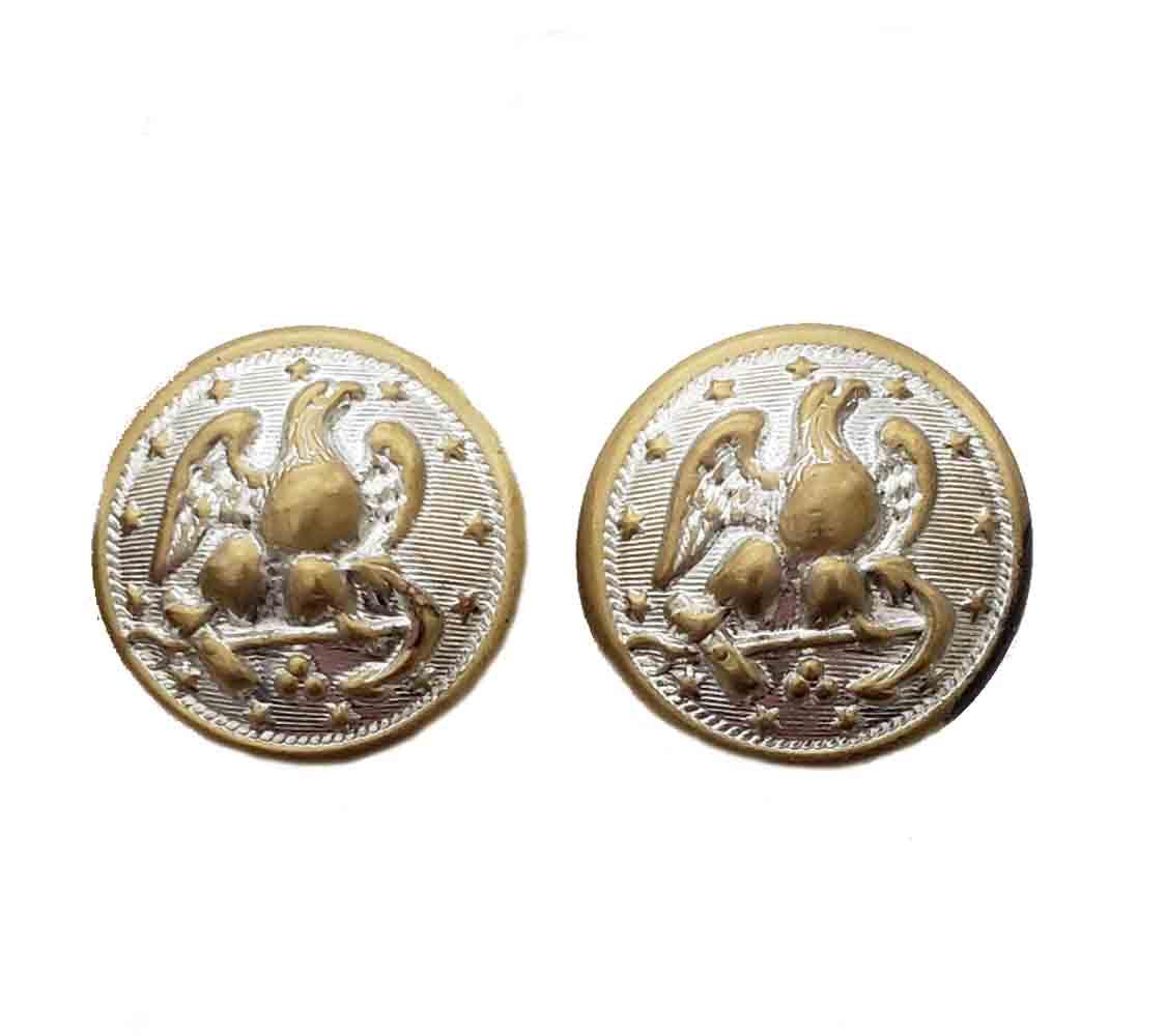Two Vintage Waterbury Military Uniform Blazer Buttons Gold Silver Brass Eagle Anchor Stars Men's 7/8