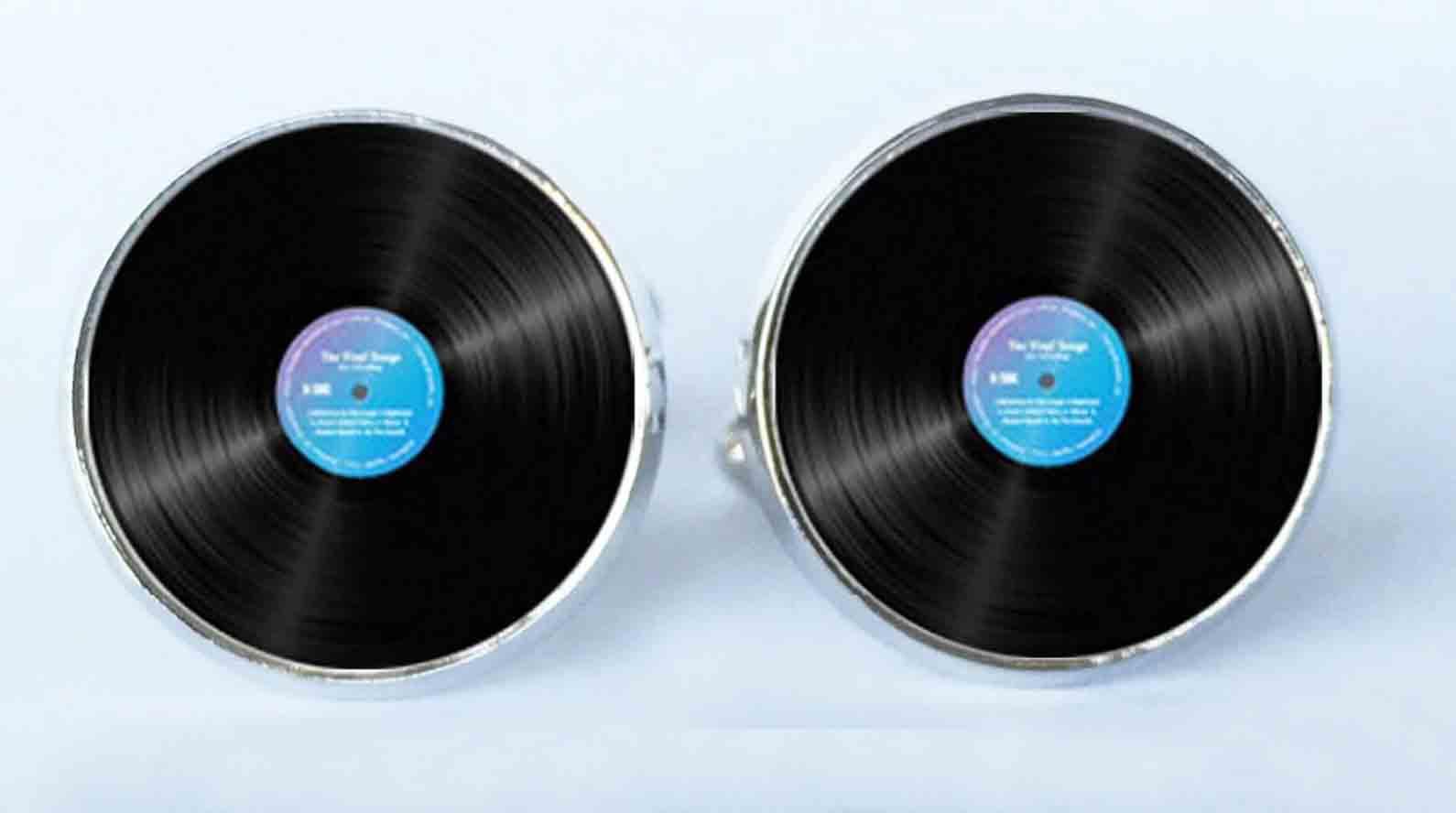 Gascoigne Cufflinks Vinyl Disc Silver Black Blue White Men's