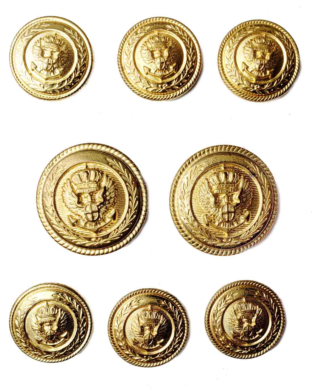 Vintage Waterbury Blazer Buttons Set Gold Brass Anchor Crown Eagle Patriotic Men's 8 Piece