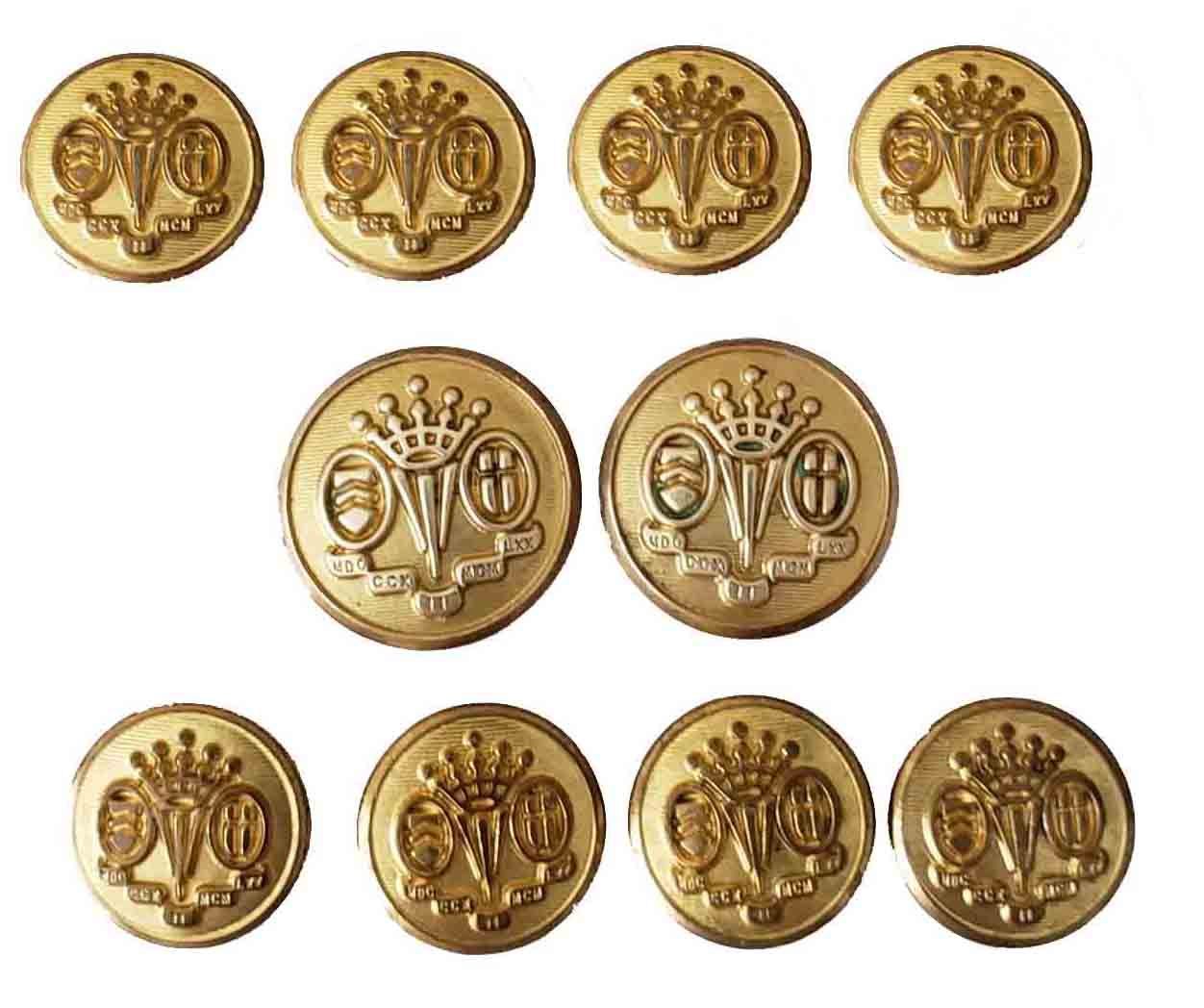 Vintage Waterbury Coronet Blazer Buttons Set Gold Brass Men's