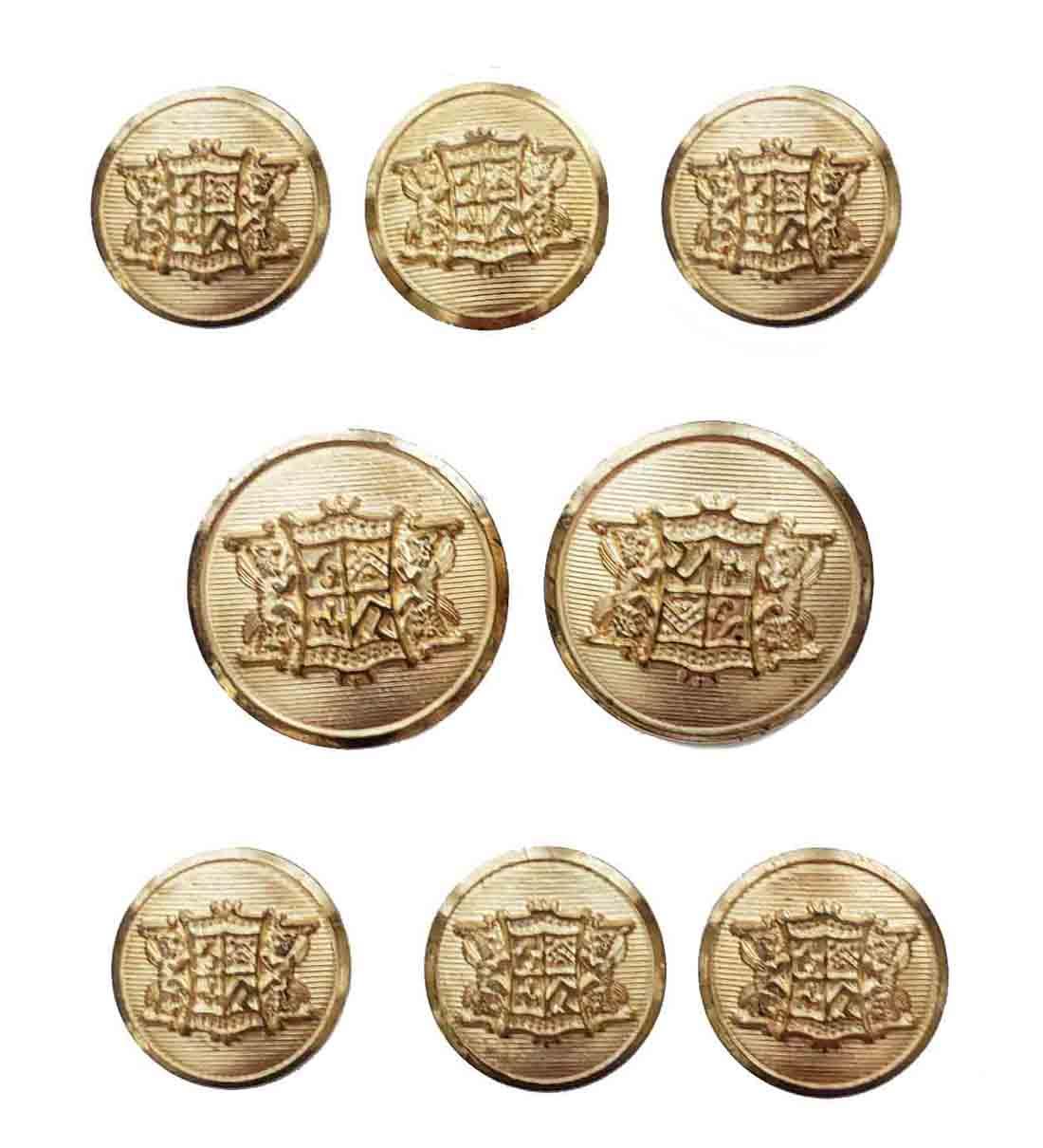 Vintage Waterbury Blazer Buttons Set Gold Brass Shank Griffins Shield Men's