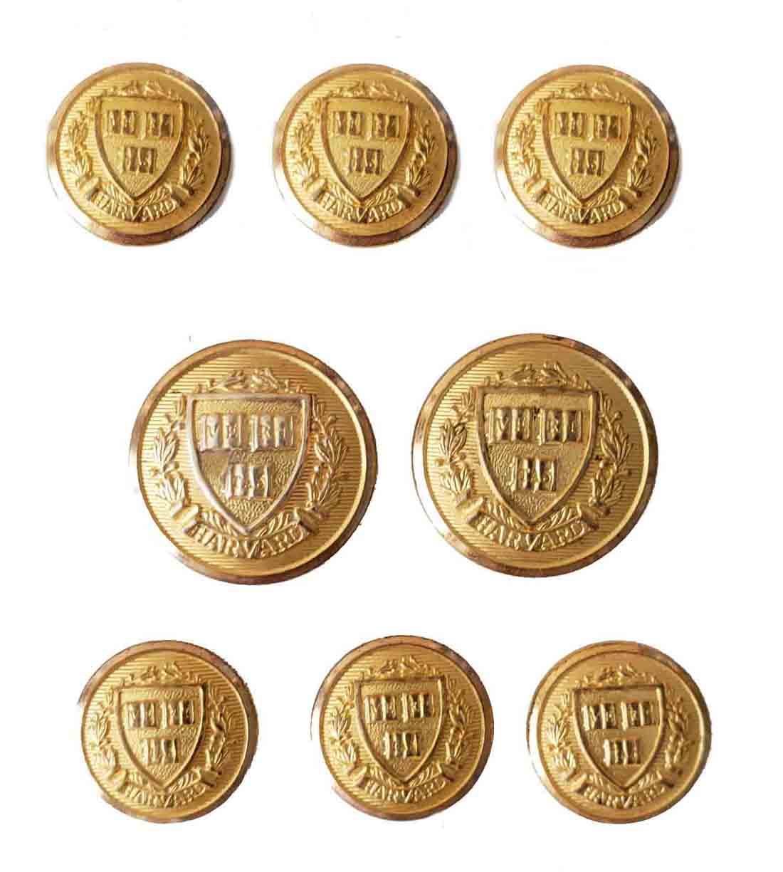 Vintage Waterbury Harvard Blazer Buttons Set Gold Brass Shank Men's