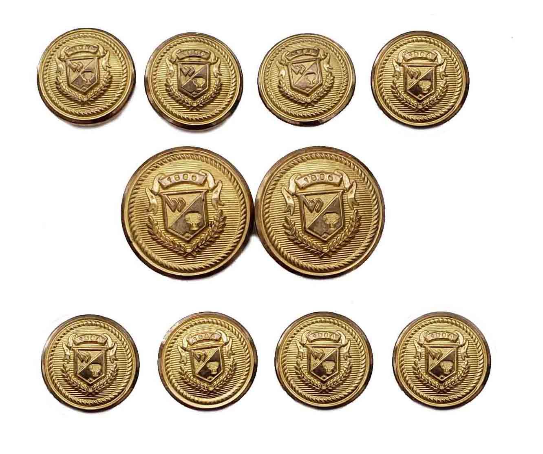 Vintage Wimbledon by Waterbury Blazer Buttons Set Gold Brass Shield Pattern  Men's