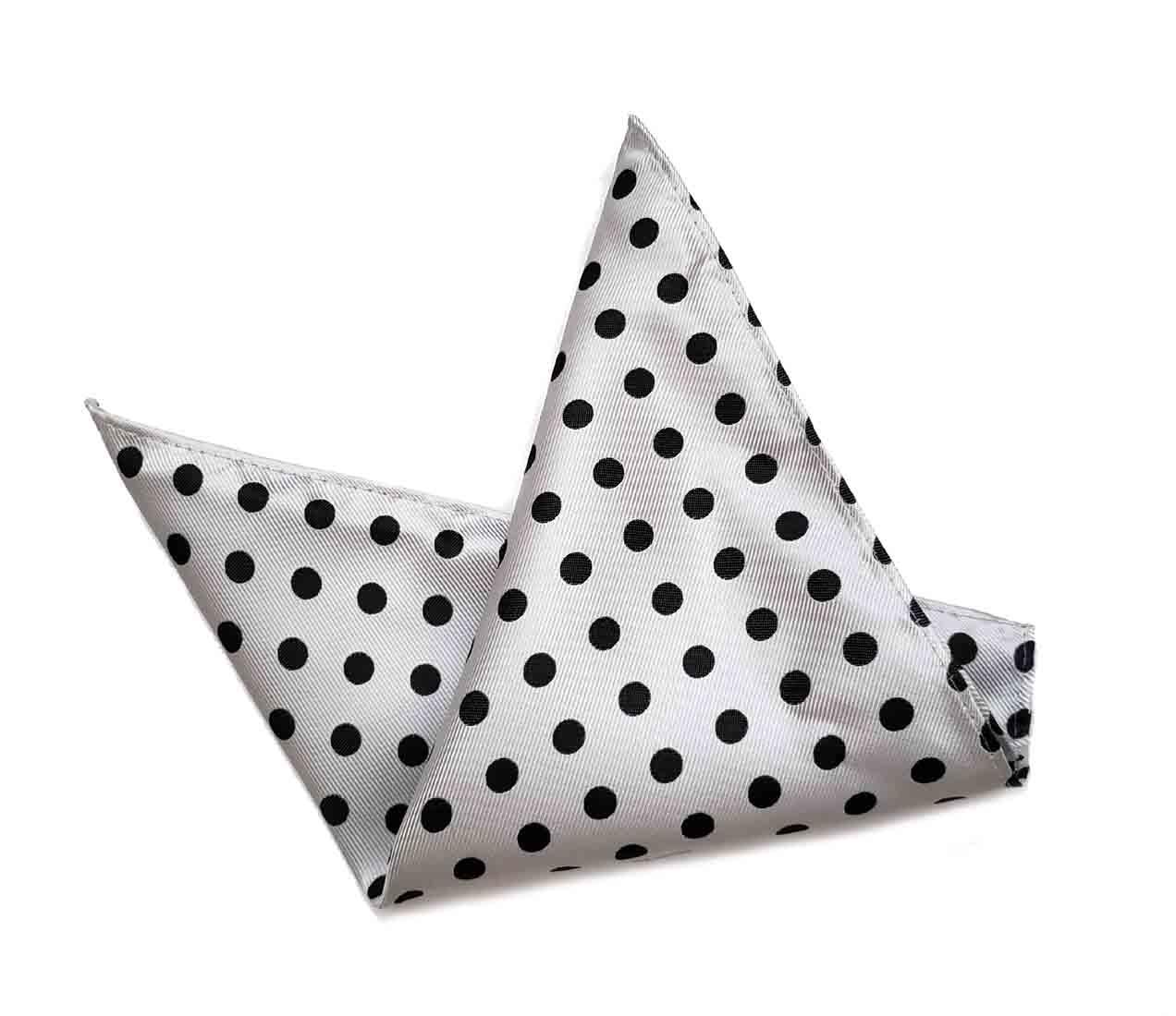 ekSel Pocket Square White Gray Polka Dot Men's