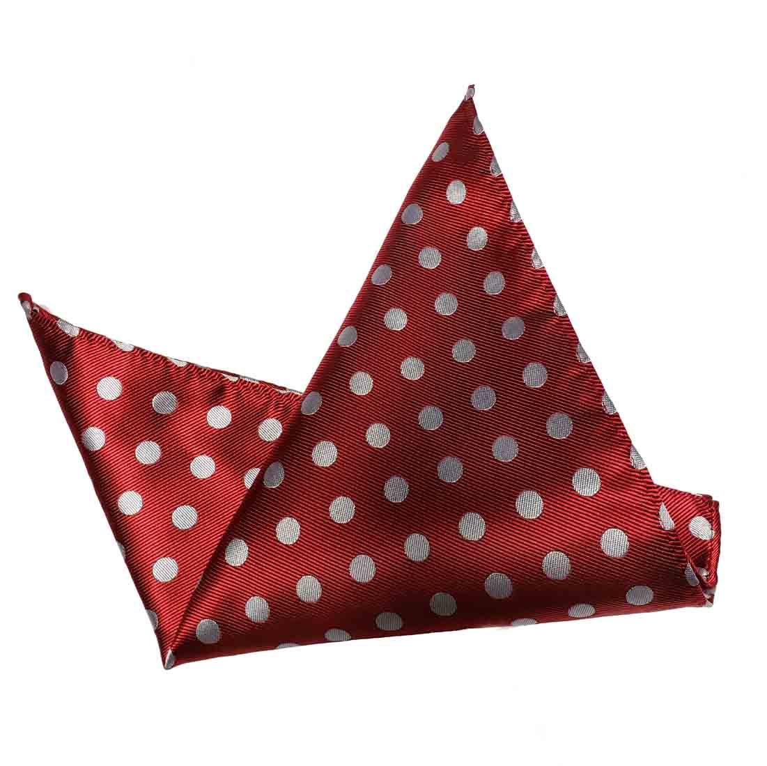 ekSel Pocket Square Red Gray Polka Dot Men's