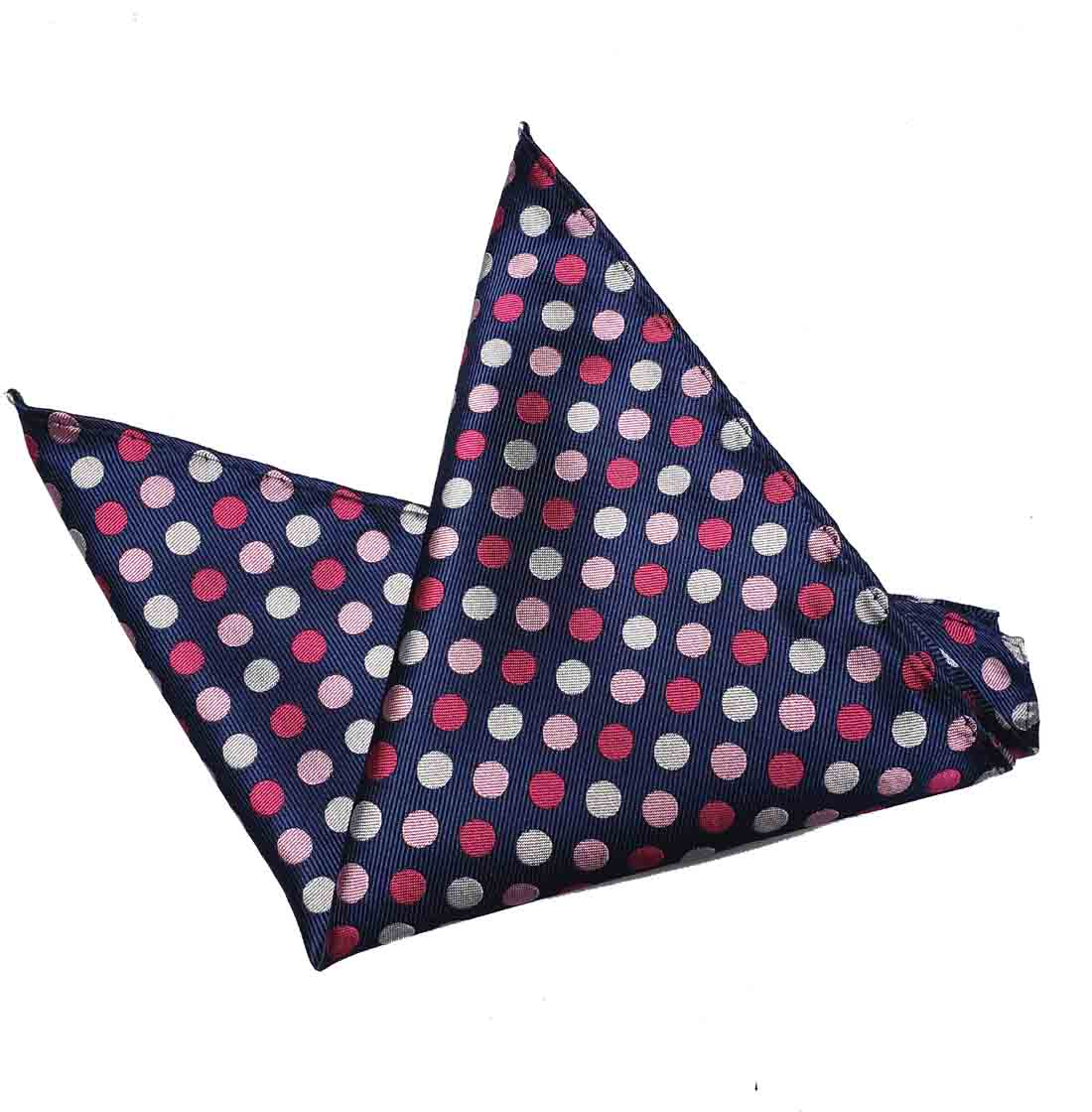 ekSel Pocket Square Navy Blue Pink Gray Polka Dot Men's