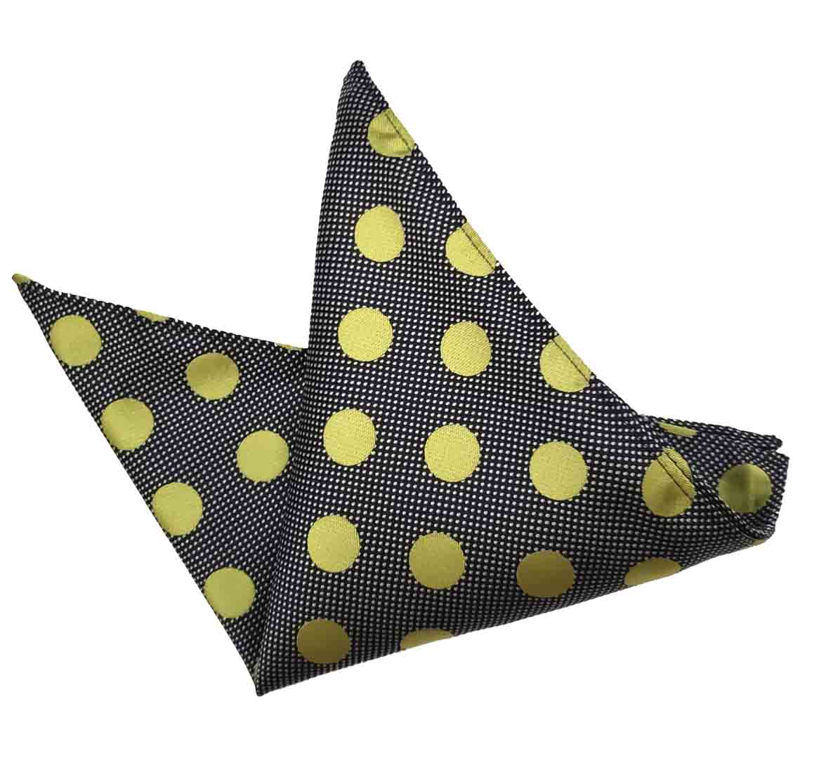 ekSel Pocket Square Gray Gold Polka Dot Men's