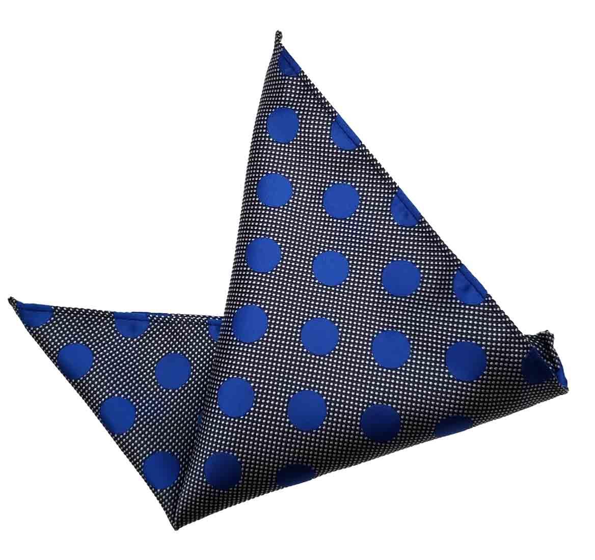 ekSel Pocket Square Blue Gray Polka Dot Men's