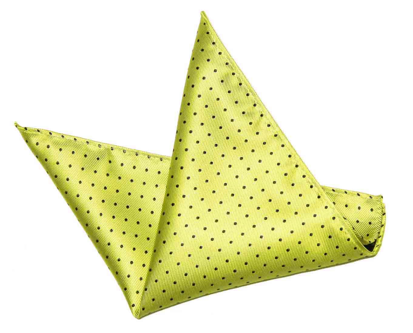 ekSel Pocket Square Yellow Black Polka Dots Silk Blend Men's