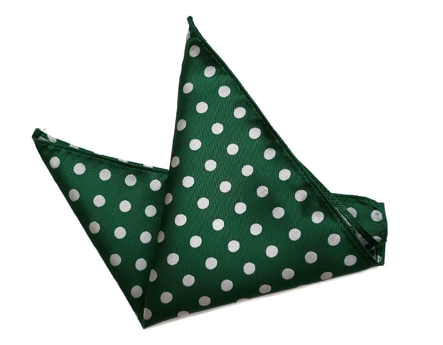 ekSel Pocket Square Green Gray Polka Dot Pattern Men's