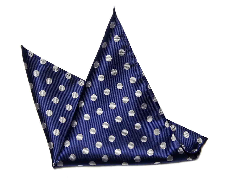 ekSel Pocket Square Navy Blue Gray Polka Dots Silk Blend Men's