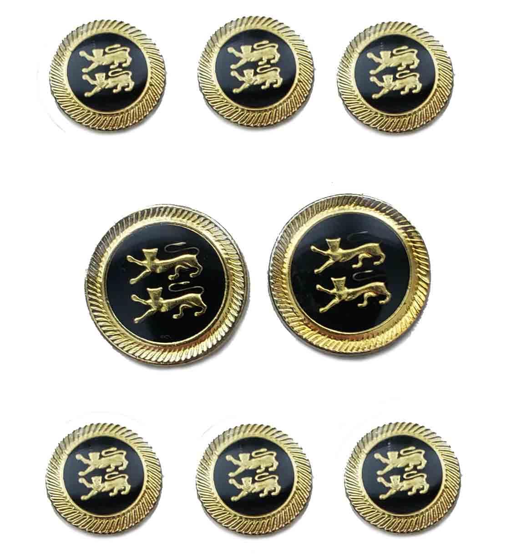 Vintage Aquascutum Blazer Buttons Set Gold Black Double Celtic Lions Men's