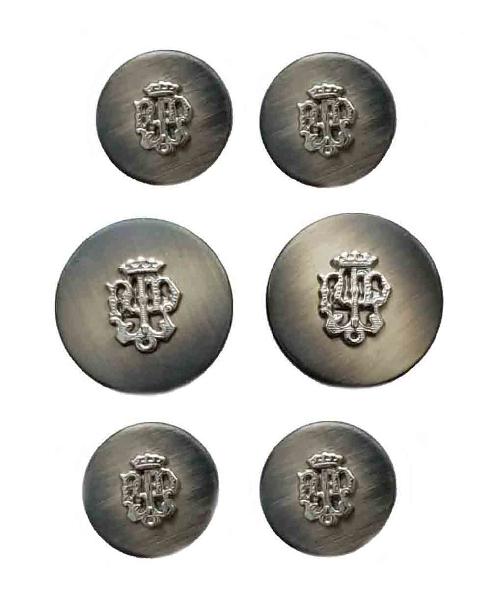 Vintage Aquascutum Blazer Buttons Set Gray Gold Crown Ornate Detailing Metal Shank Men's