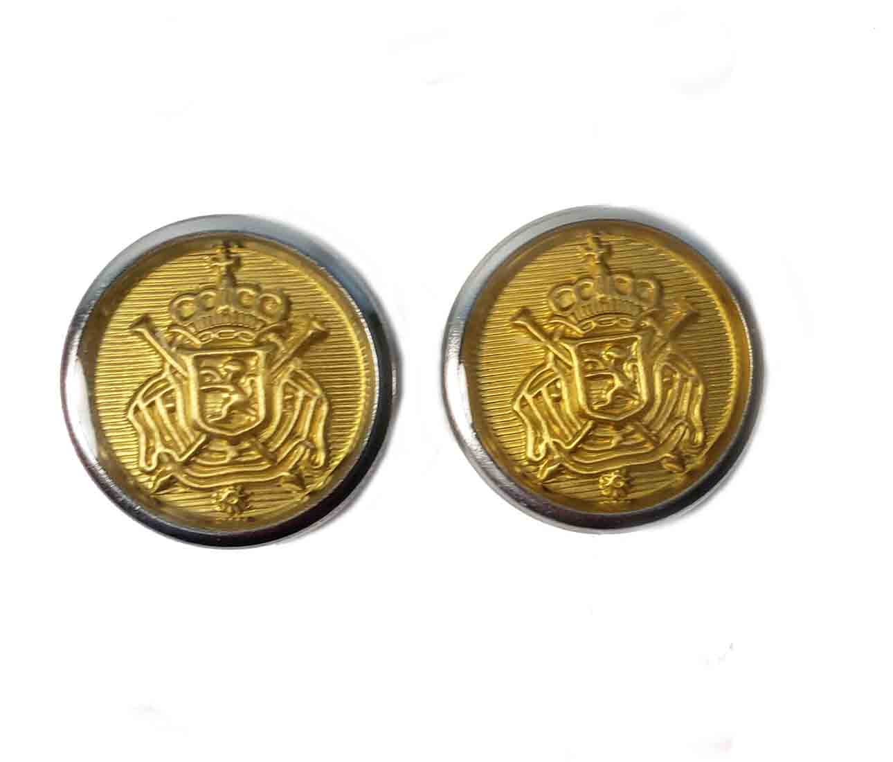 Two Belgian Crest Blazer Buttons Gold Silver Shank Men's