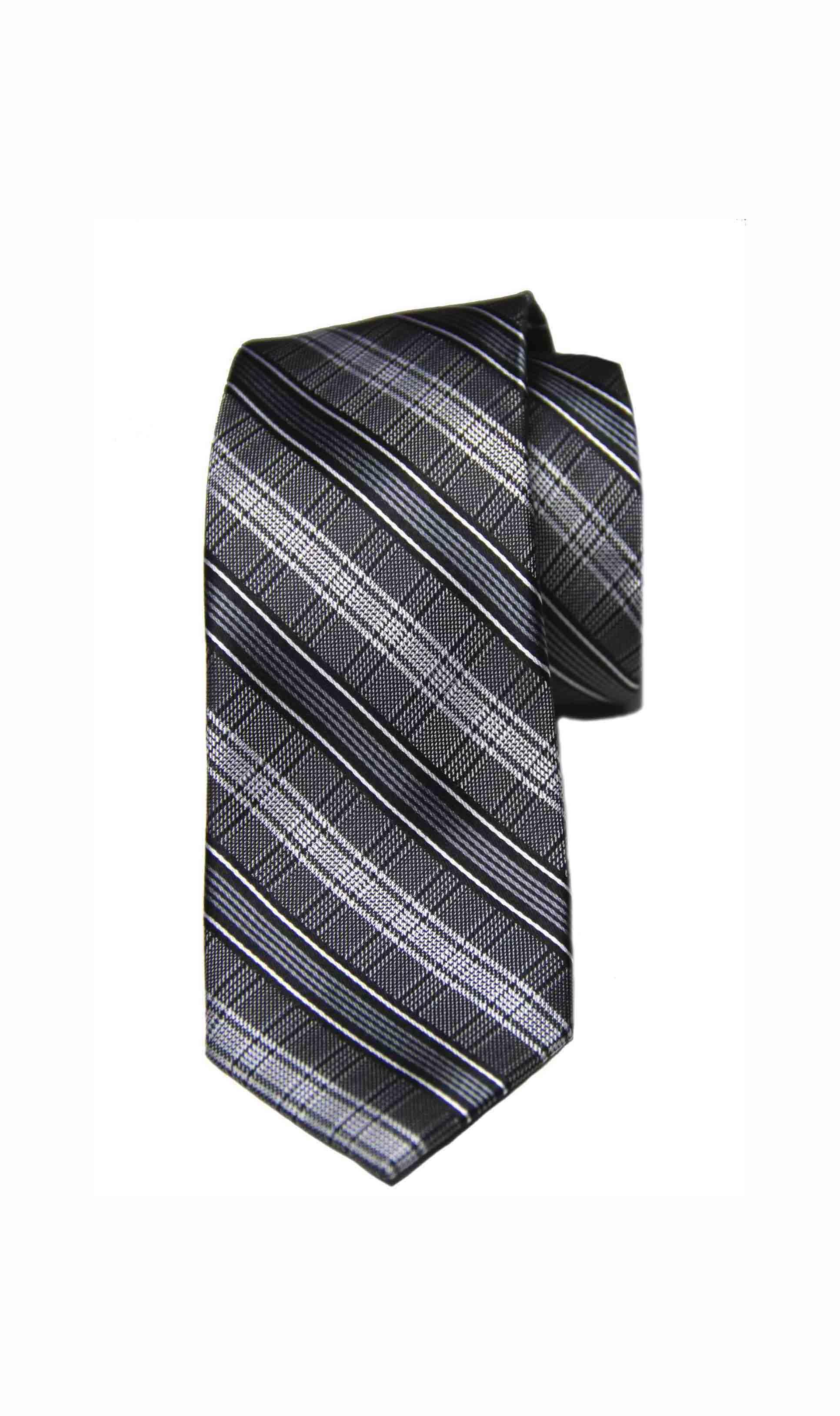 Ben Sherman Tie Gray Black Plaid Silk Narrow Men's