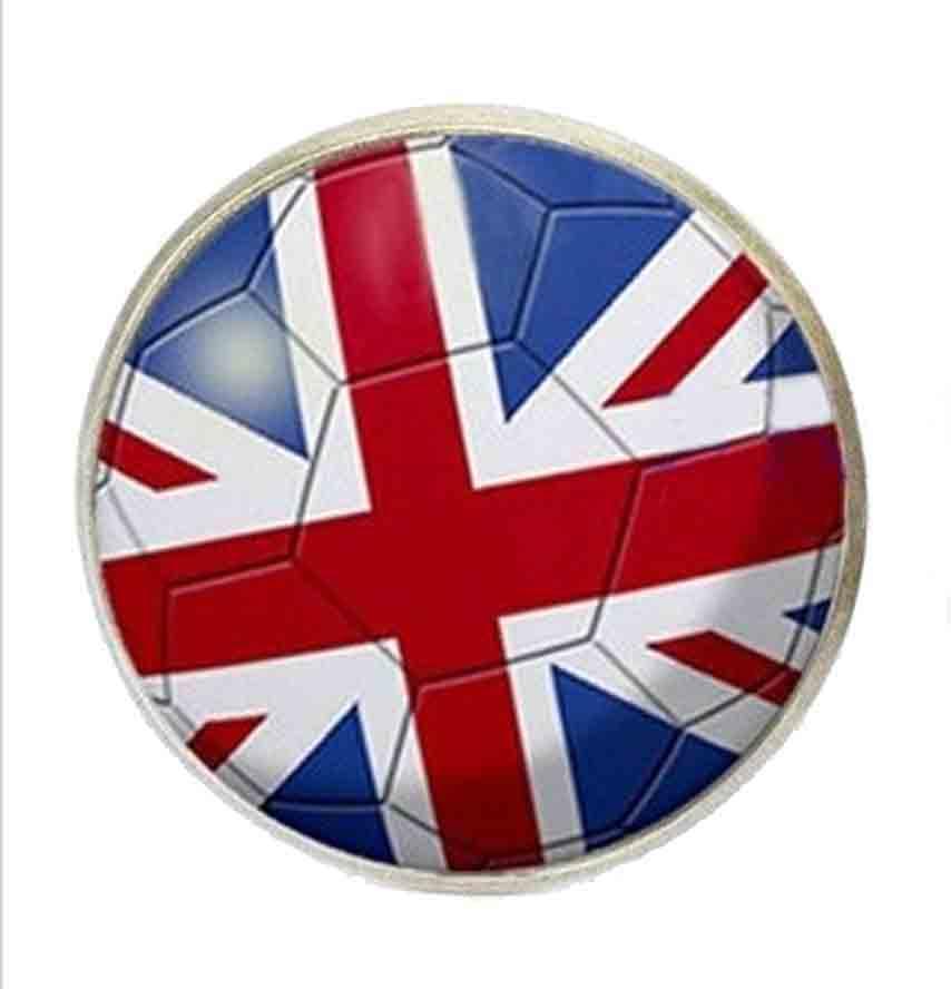Gascoigne Cufflinks British Soccer Union Jack Flag Silver Men's