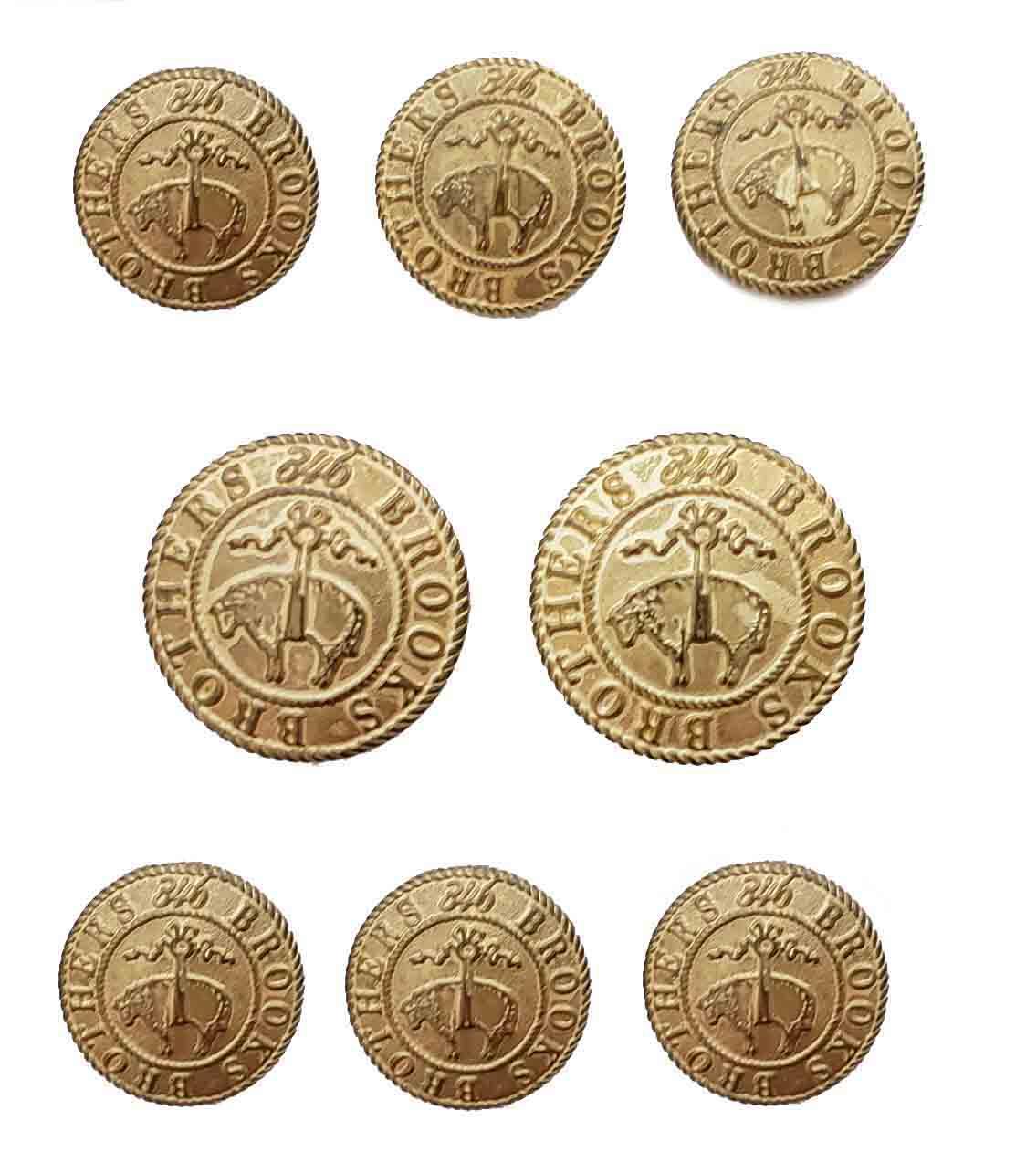 Vintage Brooks Brothers 346 Golden Fleece Blazer Buttons Set Gold Brass Men's