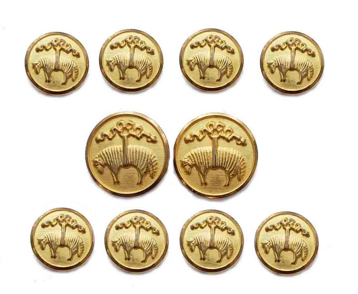 Vintage Brooks Brothers by Waterbury Blazer Buttons Set Gold Brass Golden Fleece Shank Men's