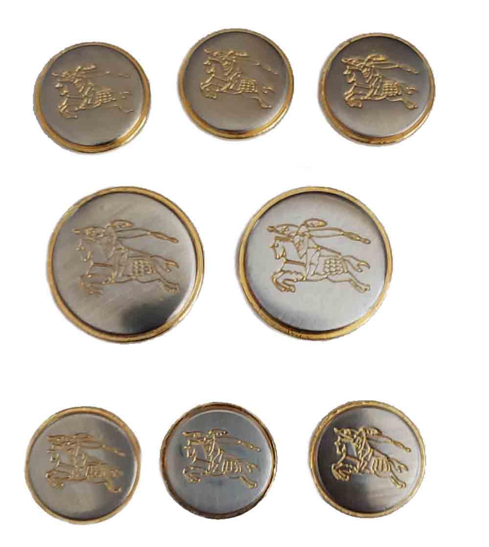 Vintage Burberrys' Blazer Buttons Set Knightsman Pattern Brass Shank Men's