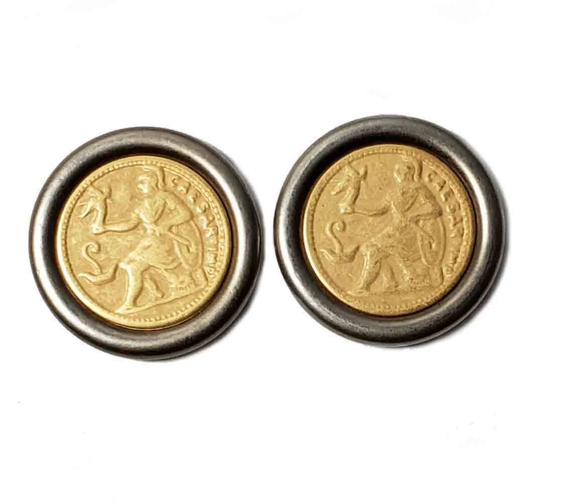 Two Graham & Gunn Blazer Buttons Julius Caesar Pattern Silver Gold Shank Men's 7/8