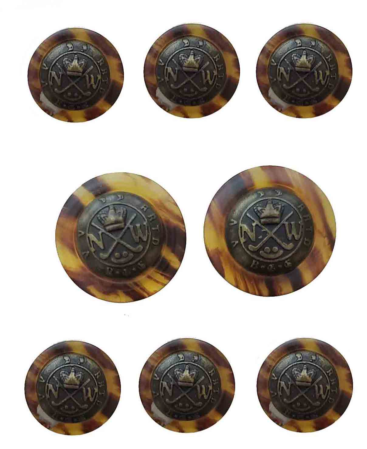 Vintage Club Room Blazer Buttons Set Tortoise Shell Pattern Amber Brown Gold Brass and Resin NW Monogram Golf Crown Men's