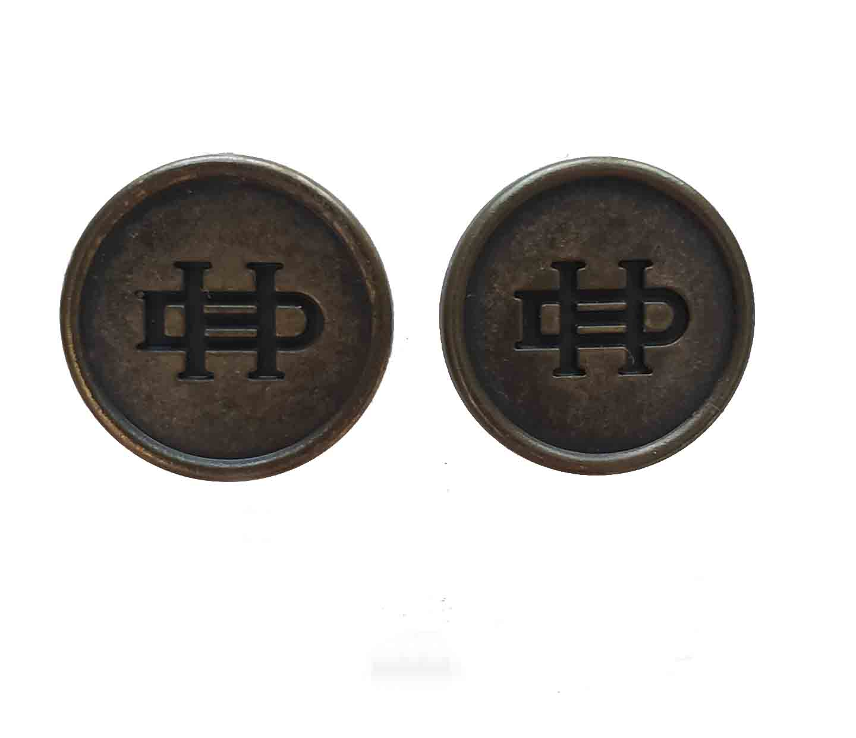 Two Vintage Daniel Hechter Blazer Buttons Brown Gold DH Monogram Men's