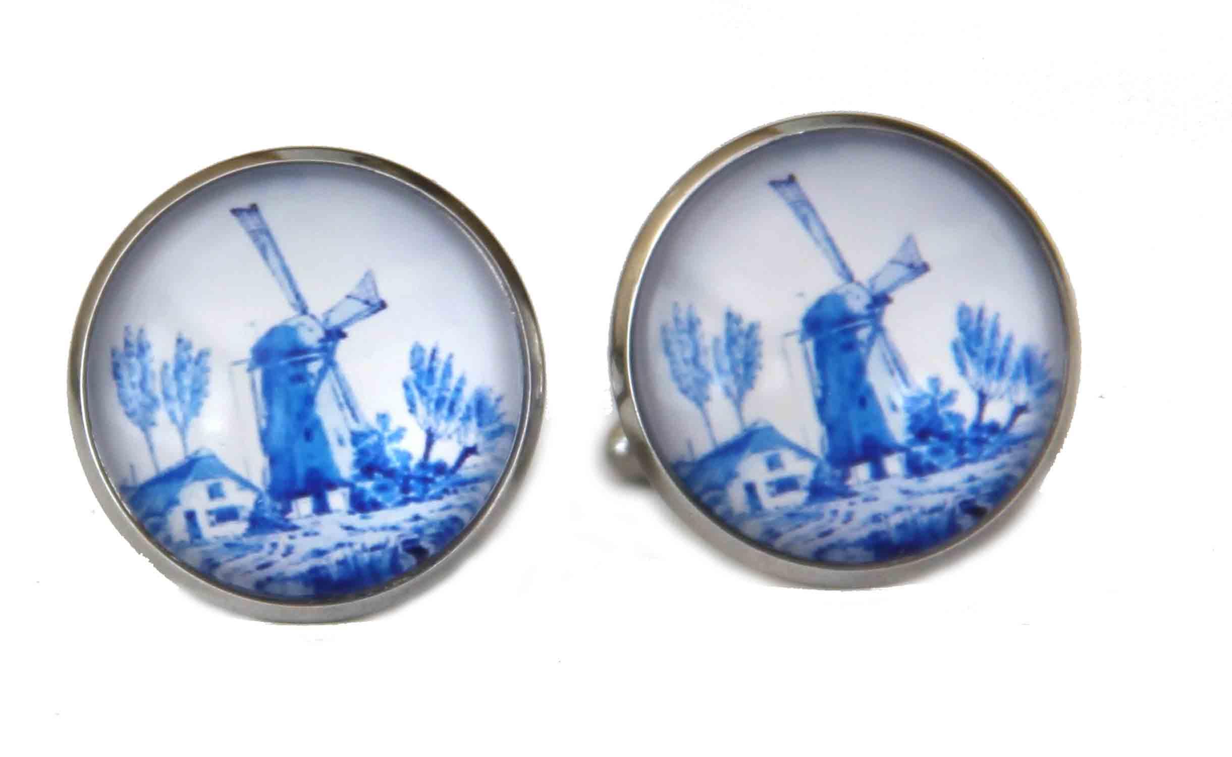 Gascoigne Cufflinks Handmade Delft Pattern Windmill Blue White Silver Men's