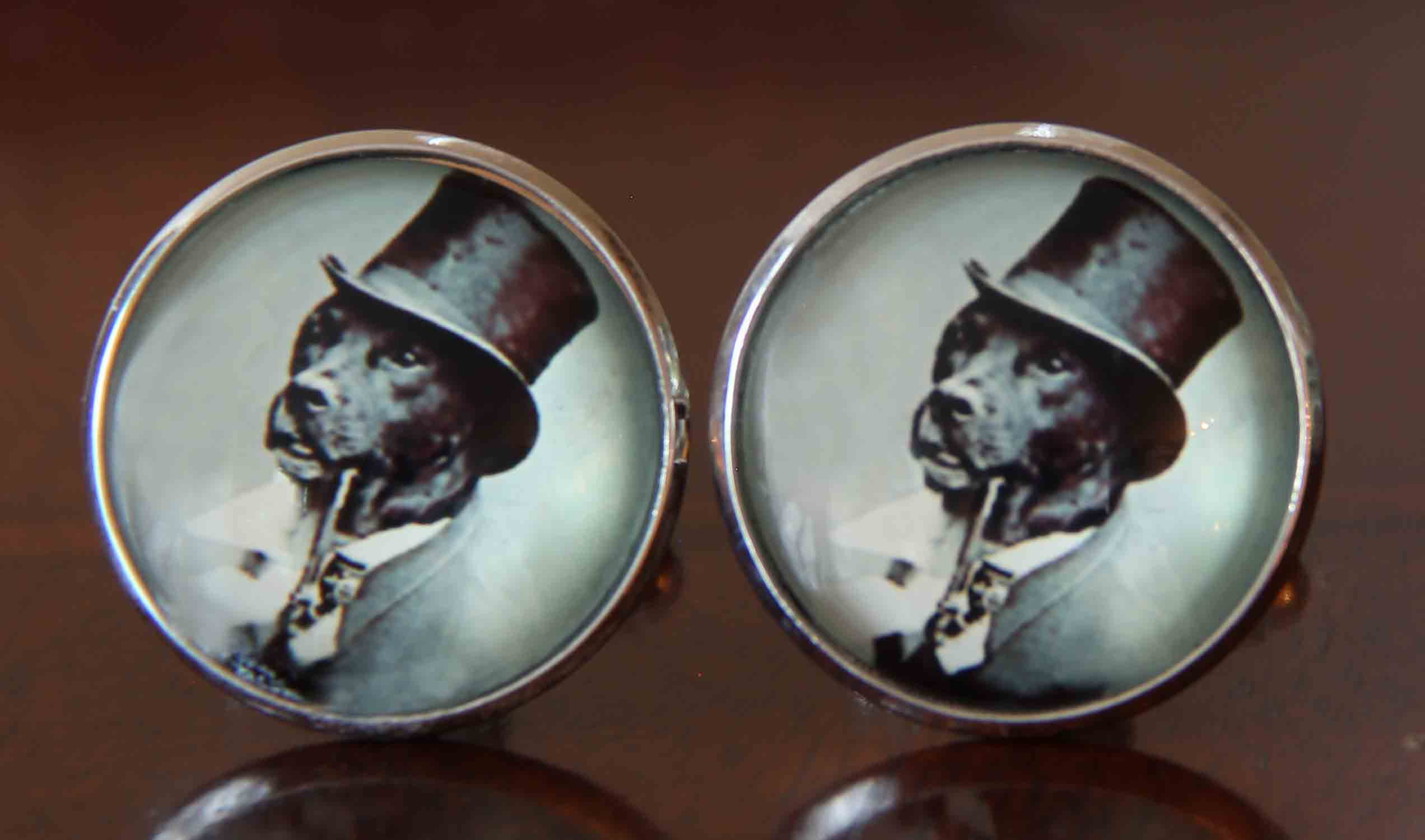 Gascoigne Dog in Top Hat Novelty Cufflinks Silver Metal Alloy Men's