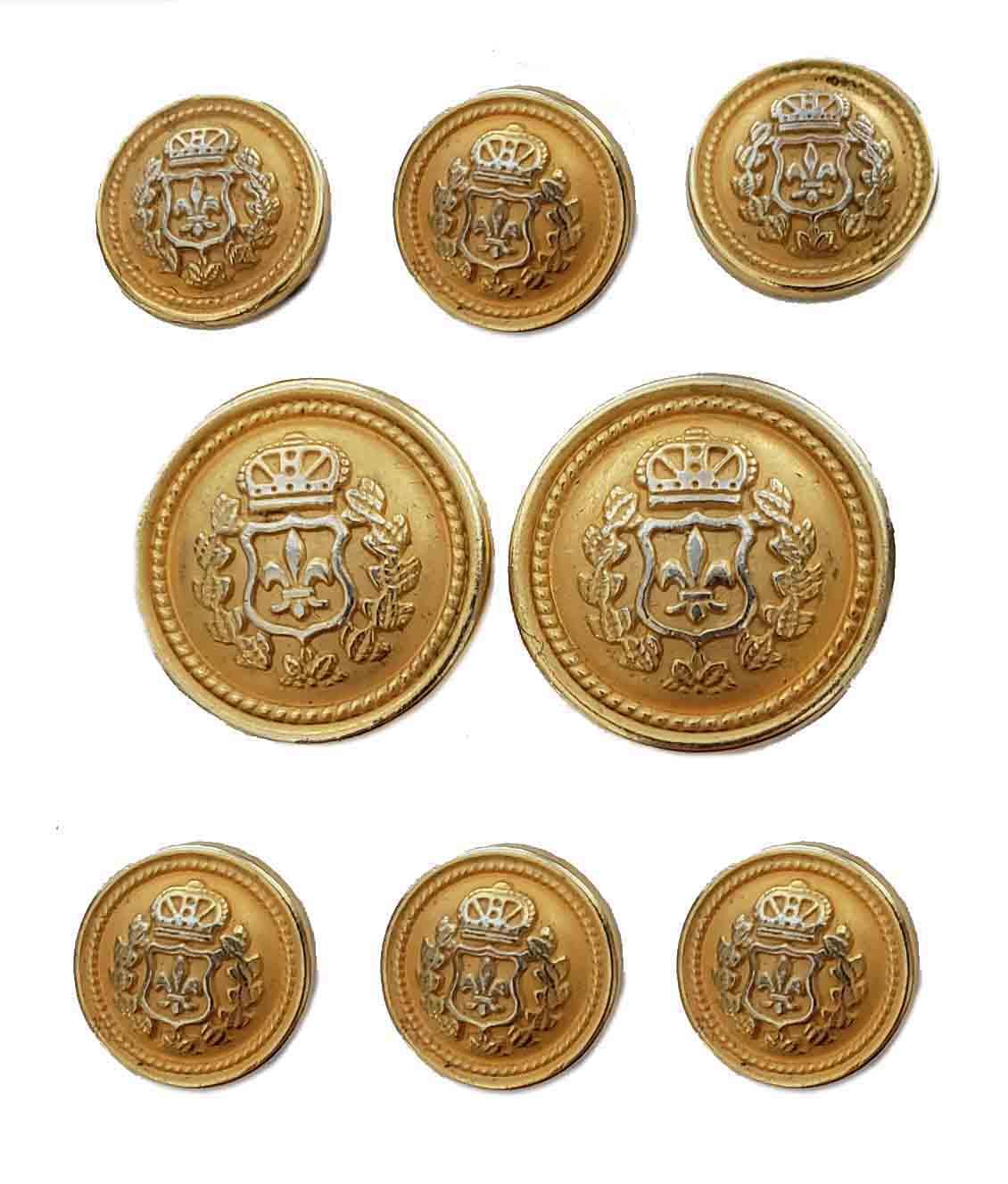 Vintage Kingsridge Dome Blazer Jacket Buttons Gold Brass Crown Fleur de Lis Men's