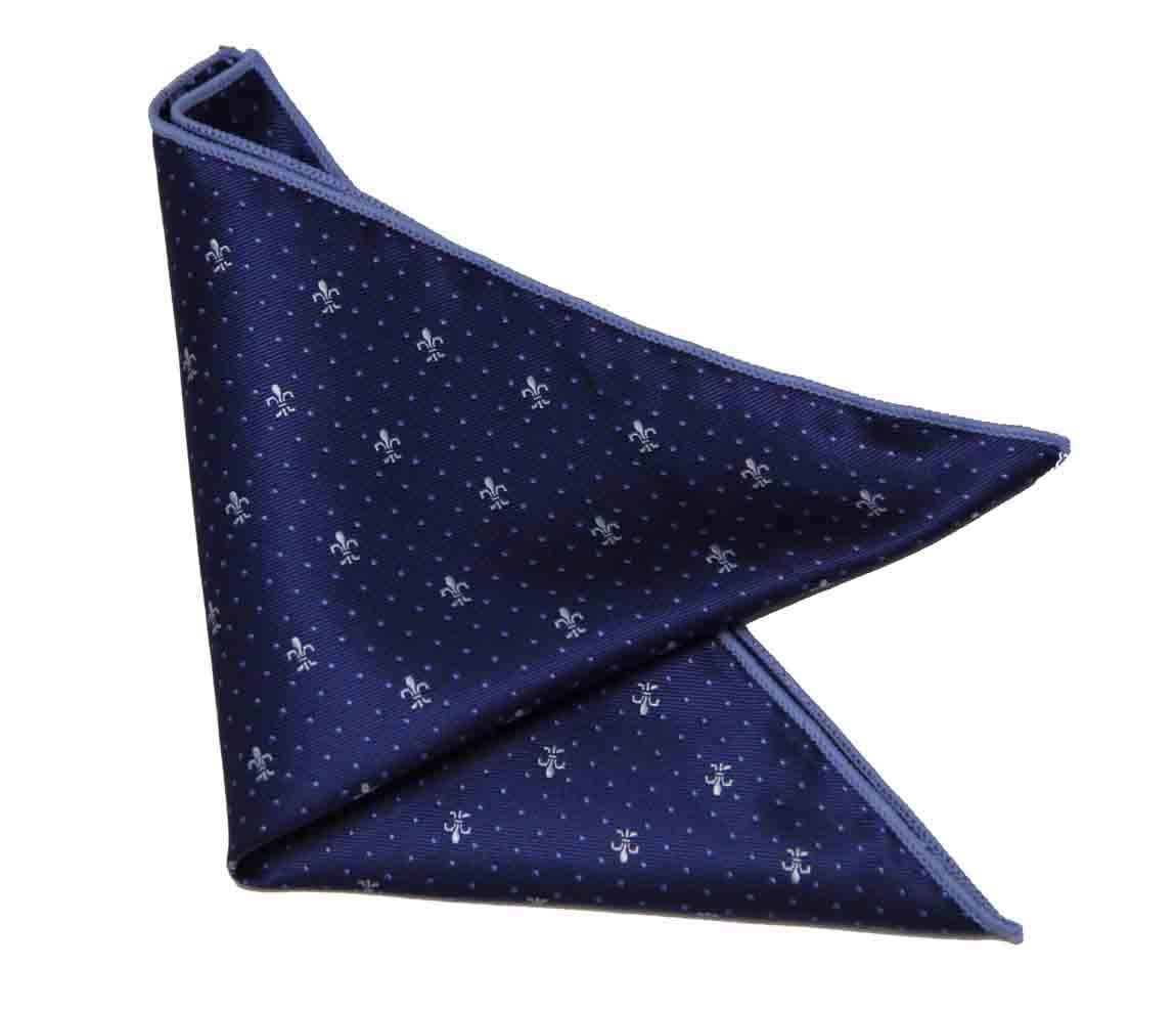 Gascoigne Fleur de Lis Pocket Square Navy Blue White Men's
